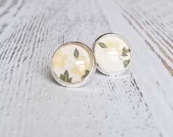 Cabochon Earrings, Stud earrings, Stainless steel, 14mm, Yellow flower print, Gift for her