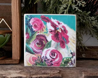 Floral rooster - mini PRINT of original painting on WOOD - farmhouse decor