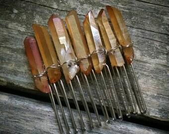 Tangerine aura quartz hair comb