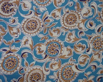 "Vintage Feedsack Fabric, Fanciful Designs on Blue 29 x 31"" So Pretty"