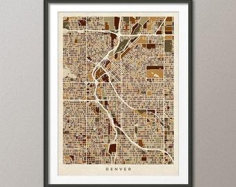 Denver Map, Denver Colorado City Street Map, Art Print (1541)