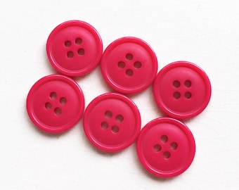 eco friendly rose pink plastic non decorative buttons--matching lot of 6