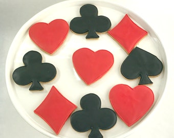 Playing Card Cookies - Red & Black - Sugar Cookies - 1 Dozen