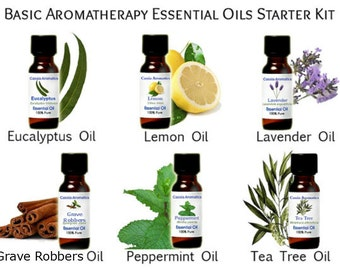 Aromatherapy Starter Kit 6 .5 oz bottles of Essential Oils Must Haves