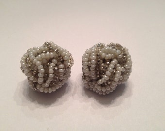 Vintage White and Silver Glass Seed Bead Cluster Twist Earrings