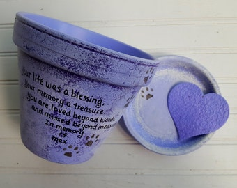 Pet Memorial Gifts - Painted Flower Pots - Heart Shaped Seed Card - Cat Memorial - Pet Sympathy - Pets Name