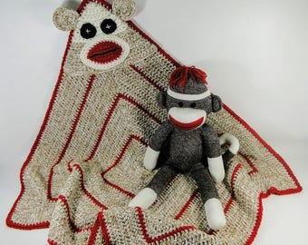 Sock Monkey Hooded Baby Afghan Crochet Pattern #203 - Sock Monkey Baby Blanket Crochet Pattern - Hooded Baby Blanket - Instant Download PDF