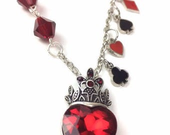 Queen of hearts red crystal pendant necklace Austrian crystal Alice in Wonderland card suits heart spade club diamond jewelry
