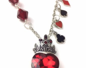 Queen of hearts red crystal pendant necklace Austrian crystal Alice in Wonderland card suits heart spade club diamond jewelry free shipping