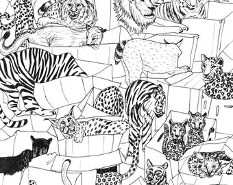 Big Cats in Cardboard Boxes - Print