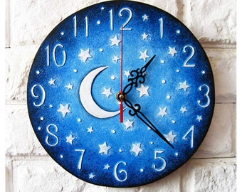 Moon and Stars, Blue Wall Clock Home Decor for Children. Blue home decor, wedding gift
