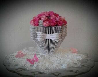 Book Sculpture, Altered Book, Paper Flowers, Book Page Flowers, Book Page Roses ,Book Art, Flower Bouquet, Paper Art