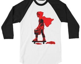 Red Riding Hood auf einem Skateboard von Lilly Biilly 3/4 Sleeve raglan-shirt