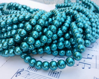 Glass Pearl Beads - 42 pc - 8mm Pearls - Teal Pearls -  Teal Blue Pearls - Round - Dyed Glass Pearls