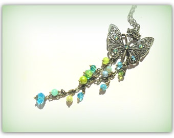 Butterfly Charm Necklace Aqua Turquoise Lime Bronze Butterfly Necklace Mystical Butterfly Necklace Long Chain Necklace Summer Jewelry