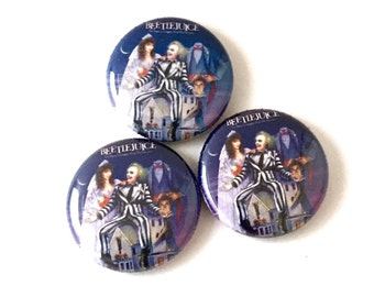 Beetlejuice 1inch Pinback Button or Magnet