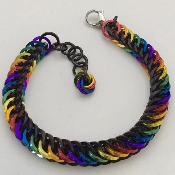 Rainbow and Black square wire chainmaille Half Persian bracelet