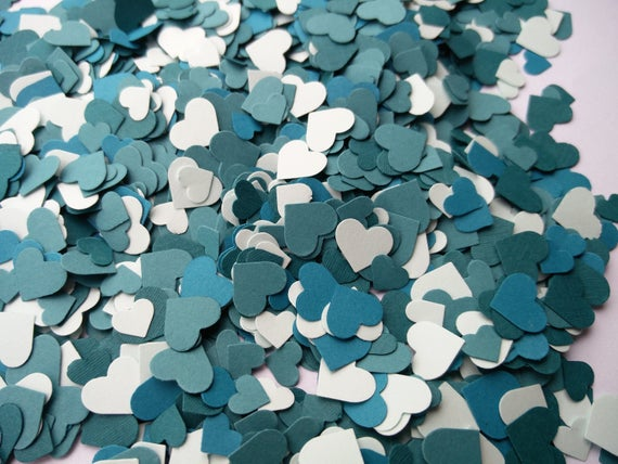 Teal Mix, Over 2000 Mini Confetti Hearts.  Weddings, Showers, Decorations. ANY COLOR Available.