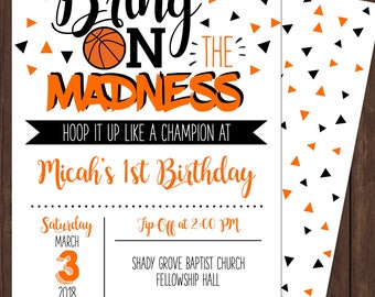 Basketball Birthday Invite - Shower Invite - Custom Colors available