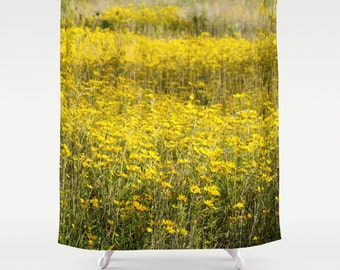 Farmhouse Shower Curtain, Cottage Chic, Country Home Decor, Boho Shower Curtain, Shabby Chic Decor, Rustic Home Decor, Floral, Yellow