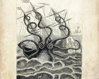 "Vintage Sea Monster Print 'Colossal Squid"" Antique Mythological Print - Nautical Sailor Pirate Ship"