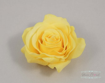Yellow Rose Hair Clip, Real Touch Wedding Hair Fascinator Hair Head Piece. bridesmaids, prom Real Touch Flowers. Tea Rose Collection
