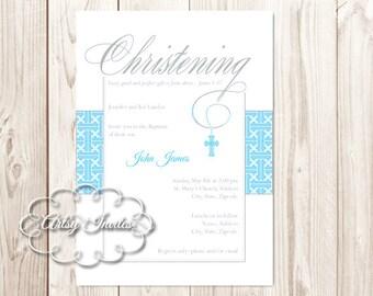 Cross | Boy Christening Invitations Printable DIY