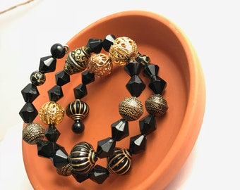 Black and Gold Wrap around Bracelet