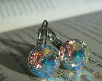 Swarovski earrings, 12 mm, Rare Glacier Blue