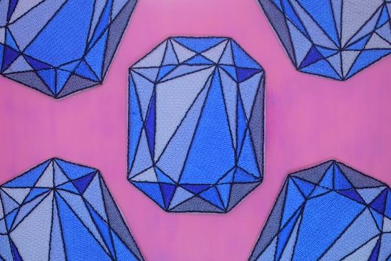 Blue Diamond Iron on Patch