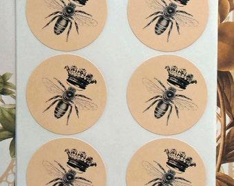 Stickers Queen Bee Vintage Envelope Seals Crown Party Favor Treat Bag Sticker SP005