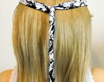 """Hair Wire Tie   Black and White  For Women and Girls 35"""" Long  Headband  Ponytail Wrap"""