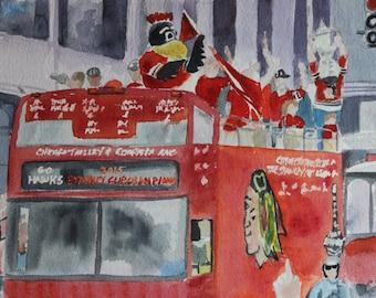 Chicago Blackhawks 2015 Championship Parade - Original Watercolor 8x16