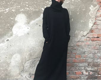 Plus Size Maxi Dress, Knit Sweater Dress, Long Maxi Dress, Minimalist Fashion, Women Dress, Elegant Dress, Black Dress, Bohemian Clothing