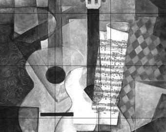 Ceramic Tile Mural or Backsplash 18 x 24 Guitar Abstract B and W
