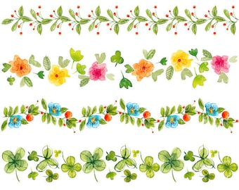 4 Floral borders, hand painted clipart, watercolor borders, watercolor clipart
