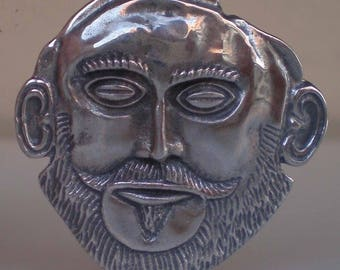 Mask of Agamemnon Silver Pendant - Brooch - Pin- Ancient Greece
