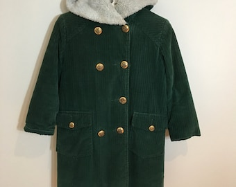 50s Tidy by Tidy Teens Green Corduroy Faux Fur Lined Hooded Double Breasted Winter Coat, Girls Size 8 to 10