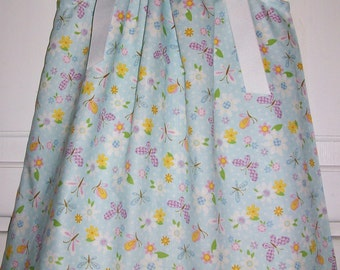 SALE Pillowcase Dress BUTTERFLIES and Daisies Blue Floral Spring Easter 3m 6m 12m