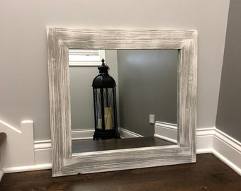 GRAY on WHITE BASE Mirror, Wood Framed Mirror, Rustic Wood Mirror, Bathroom Mirror, Wall Mirror, Vanity Mirror, Kids Room, Small Large, Gift