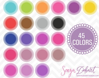 80% OFF SALE Clipart Digital Frames Scallop Circle 45 Colors Vector EPS Included Commercial Use