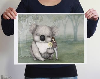 Giant Koala, large A3 full colour art print by flossy-p. Australian gift with original art by flossy-p