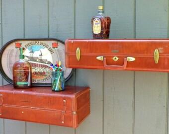 Samsonite Suitcase shelves/RE:purposed Front-Back Red/Brown Shelf Set