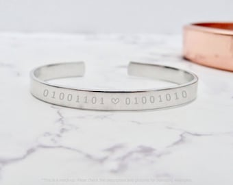 Bracelet for couple, with initials in binary code, geekery by nkdna
