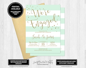 Mint Green Stripe Engagement Party Invitation Gold Glitter We're Engaged Invites Printable Digital File or Printed Invitations