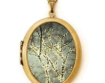 Photo Locket - Everything is Illuminated - A Magical Winter Oval Photo Locket Necklace