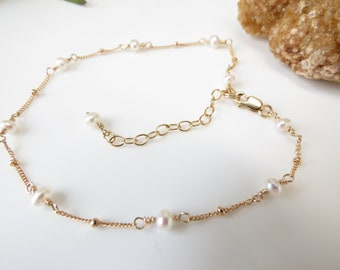 Freshwater Pearl Anklet, Pearl Anklet In Gold Filled, June Birthstone, Wire Wrapped Anklet, 8.5-10.25 Inches Length, White Pearl Anklet