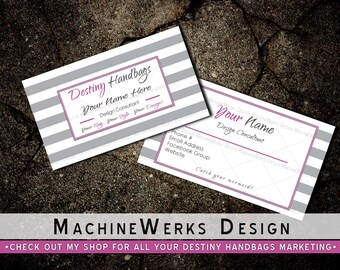 Destiny Handbags Business Cards • Professional Business Card Design • Direct Sales Marketing Materials • Design Consultant • MachineWerks
