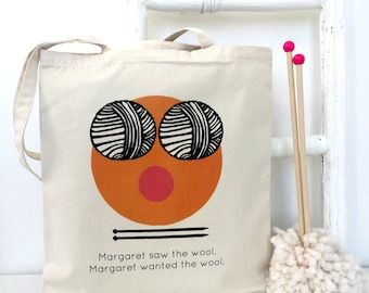 Saw The Wool, Wanted The Wool | Personalised Knitting Project Bag | Personalised Knitters Gift | Knitting Accessories | Emoji