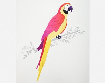 Colourful Parrot Giclée Art Print 7 x 5 / 8 x 10""